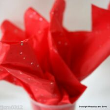 Red Sparkly Glitter Tissue Paper - Premium Quality Wrap- 5 or 10 sheets