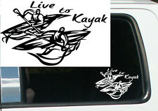 "7"" LIVE TO KAYAK TRIBAL DESIGN VINYL DECAL STICKER RN 14"