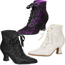 "Granny Style Ankle Boots w 2.5"" Heel Lace Overlay Sz 6-10 NIB 253-ELIZABETH"