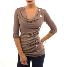 VIVICASTLE Neutural Beige Cowl Neck Button Embellished Ruched Sweater Top SMLXL