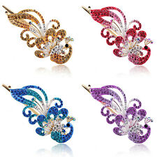 Luxury Crystal Rhinestone Peacock Barrette Hair Clip Hairpin Sticks Hair Jewelry