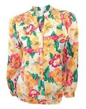 Dorothy Perkins Colourful Floral Collarless Long Sleeve Blouson Top