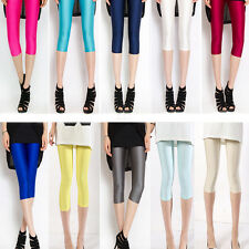Hot Women Neon Candy Shiny Bright Fluorescent Stretch Leggings Cropped Trousers