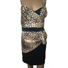 Sexy Ladies Mini Dress Animal Leopard Black Bandeau Sleeveless 34-38(DAN-985)