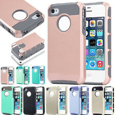 Hybrid Rugged Rubber Hard Shockproof Case Cover Skin for Apple iPhone 4 4S