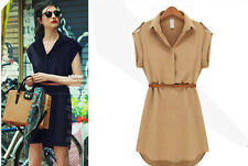 Europe Style Women's Short Sleeve Loose Shirt Dress Slim Chiffon Sundress + Belt