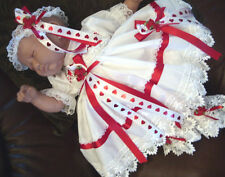DREAM NB 0-3 3-6 MONTHS  BABY RED HEARTS DRESS HBD  OR REBORN DOLLS