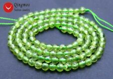 "SALE 3-4mm Green Round Natural authentic Peridot Gemstone Loose Beads 15""-los655"