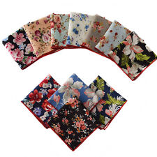 Men Pocket Square Handkerchief Cotton Peony Flower Floral Wedding Hanky Lot