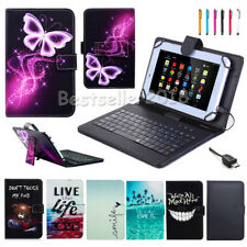 """For NuVision 7"""" 7.85"""" 8"""" 10"""" Tablet PU Leather Micro USB Keyboard Case Cover+Pen"""