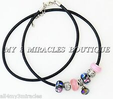 Black Leather European Style Necklace Pink Blue Ladies Teen Charm Mother's Day