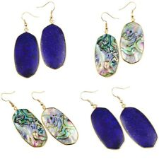 Lapis Lazuli/Abalone Shell Pendant 18 KGP Gold Plated Gemstone Hook Earrings