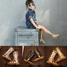 Fashion Kids Girls Flat Knee High Zip Up Gladiator Sandals Strappy Boots Shoes