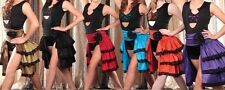 Marcea Competition Dance Jazz Ballroom Costume SALSA Ruffle Lace SKIRT Adult S