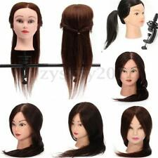 Long Human Hair Salon Hairdressing Training Practice Head Mannequin Doll + Clamp
