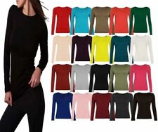 NEW STRETCHY GREEN BLACK BROWN CERISE GREY LONG SLEEVE SCOOP NECK TOP SIZE 6-12