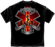 9/11 Memorial EMT EMS Black T-shirt with New York Skyline in red Star of Life
