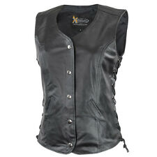 Xelement XS-4700 Women's Side Lace Leather Motorcycle Vest