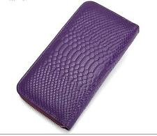 New Women Genuine Leather Snake Long Zip Wallet Phone Card Holder Case Billfold