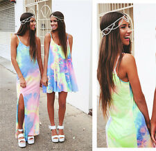 Women Casual Tie Dye Party Evening Beach Dresses Sexy Side Split Long Maxi Dress