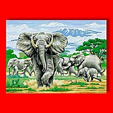 REEVES LARGE PAINTING / PAINT BY NUMBERS ELEPHANT ART HOBBY ELEPHANTS