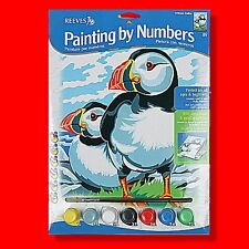 REEVES MEDIUM / A4 PAINTING / PAINT BY NUMBERS PUFFINS ART HOBBY
