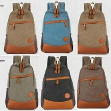 Men Women Canvas Backpack Travel Tactical Hiking Sport Camping Outdoor Schoolbag