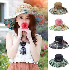 Ladies Floppy Sun Hat Women's Summer Bow Straw Hats Beach Cap Floral Wide Brim