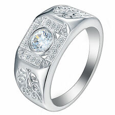 Trendy 18k White Gold Filled Round Cubic Zirconia Women Wedding Engagement Ring