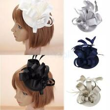 Women Hat Style Cap With Feather Fascinator Party Decor Satin Flower Hair Clip