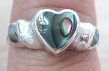 925 STERLING SILVER Paua Shell ABALONE New Zealand 3 Heart Ring size K M O Q