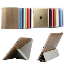 Magic Stand Clear Back Shell PU Leather case Cover For Apple ipad 2,ipad 3 ipad4