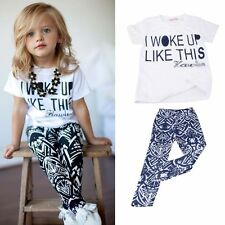 2PCS Outfits Toddler Baby Girls Clothes Kids Short Sleeves T-Shirt + Pants 2-6Y