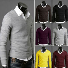 Men's Casual Slim Fit V-neck Knitted Cardigan Pullover Jumper Sweater Tops x