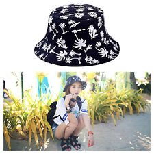 Durable Coconut Tree Printed Unisex Bucket Cap Outdoor Activity Sun Protect Hat