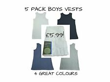 EX M+S 5 Pack Boys Vests Sleeveless Underwear Kids Cotton White Navy Grey Blue