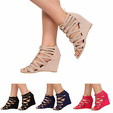 WOMENS LADIES HIGH HEEL WEDGE PEEPTOE LACE UP SANDAL SHOES SIZE 3-8