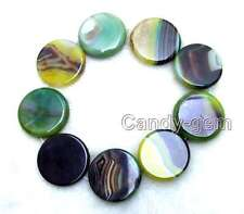 """SALE 40mm Coin Round Green multicolor Striped agate Loose Beads strand 15""""-lo664"""