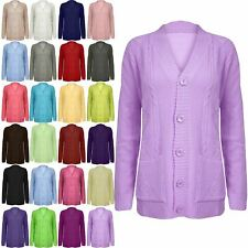 Womens Long Sleeves 5 Buttons Cable Chunky Ladies Knitted Long Cardigan Top Size
