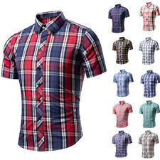 Mens Luxury Casual Slim Stylish Dress Shirts Short Sleeve Plaids Casual Shirts