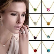 Fashion Women Multi-Color Gold Crystal Rhinestone Pendant Chain Necklace Jewelry