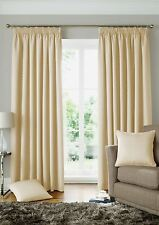 WOVEN JACQUARD SQUARES CREAM LINED PENCIL PLEAT CURTAINS *9 SIZES*