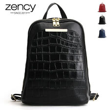 New Fashion Crocodile Genuine Leather Women Backpack Shoulder Bag Handbag Purse
