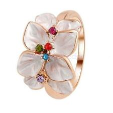 Fashion Chic Flower Cocktail Finger Ring w/ Multicolor Crystals Rhinestone