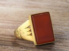 Mens Ring 14k Yellow Gold Natural Red Agate Ring Mans 5 to14 US sizes