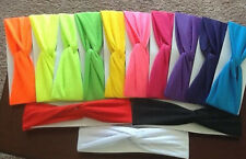 Twisted Lycra Headbands 2 3/4 wide Choose colors  VERY STRETCHY, SOFT, AWESOME