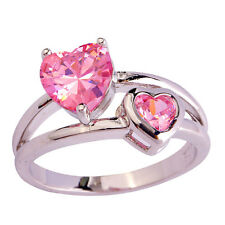 Engagement Sweet Heart Cut Pink Sapphire Gemstone Silver Ring Size 6 7 8 9 10 11