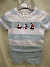 DREAM BABY BOYS FINE KNIT 2 PC SAILOR BOAT TOP & PANTS 0-3 3-6 6-9 MONTHS