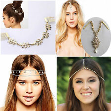 Nice Fashion Womens Rhinestone Metal Head Chain Headband Headpiece Hair Band