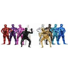 Shiny One Piece Full Bodysuit Zentai Costume Hooded Mask Skin Tight Suit Adult